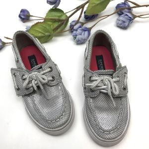 Sperry Toddler Girl Glitter Silver Boat Shoes Cute